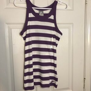 VTG Nike Purple White Striped Tank Top 12-14